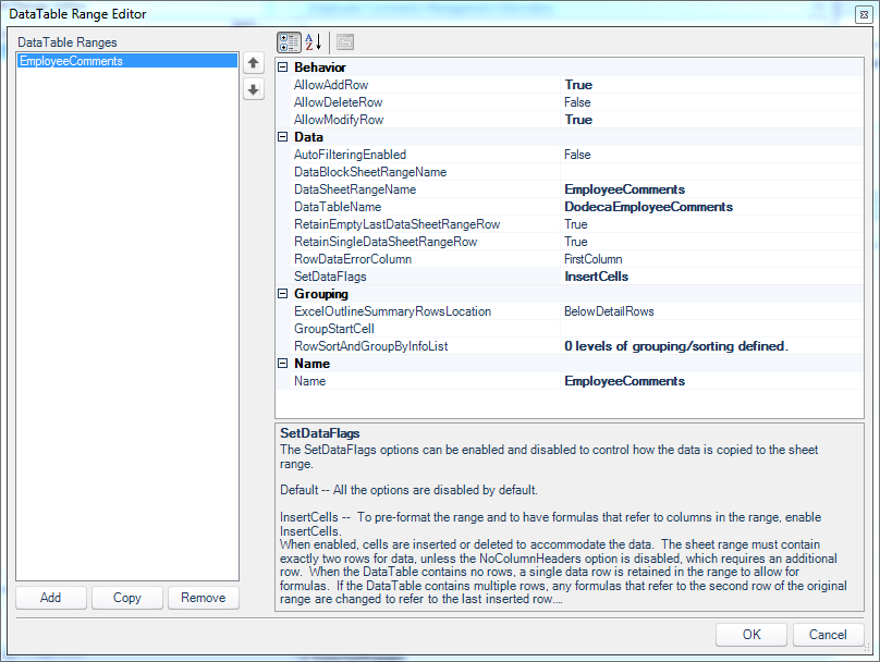 DataTable Range Editor associated with the SQL passthrough dataset on our view