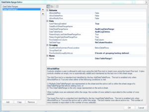 Dodeca DataTable Range Editor screen