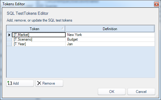 Test tokens for SQL query
