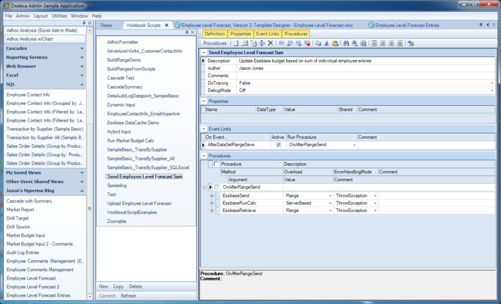 Employee forecast input workbook script
