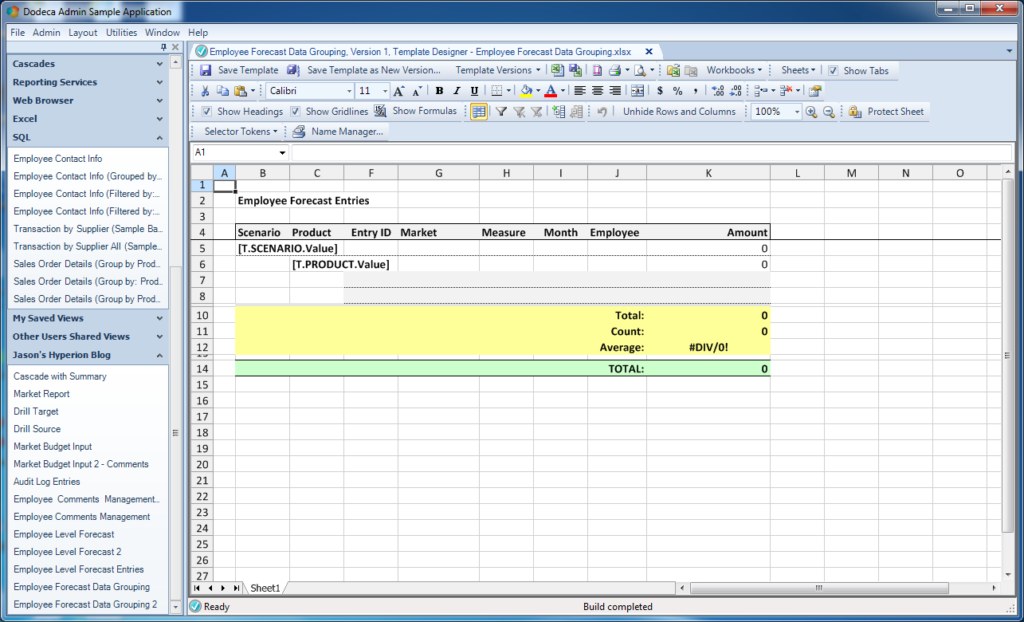Excel template for the entire scenario/product grouping for the our dataset