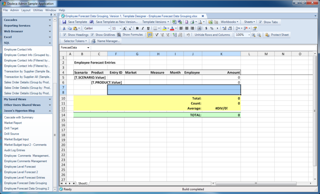 Excel template defined range for SQL Passthrough DataSet data