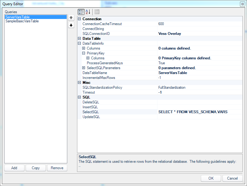 On the Dodeca query editor, looking at the first query for pulling out global variables from the Essbase server