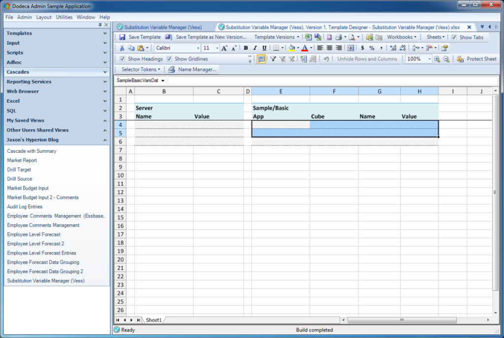 Creating a template to display the variables from the SQL Passthrough DataSet