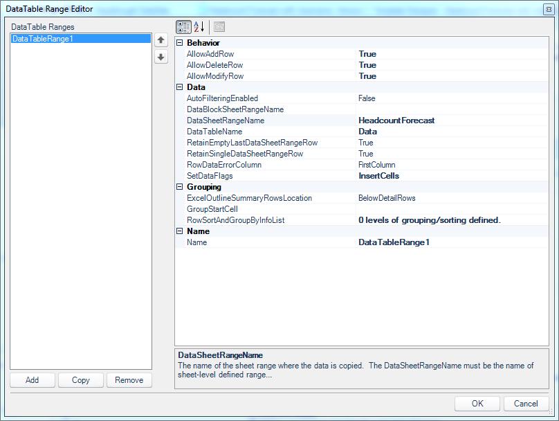 The DataTableRange Editor within the DataSet Range editor.