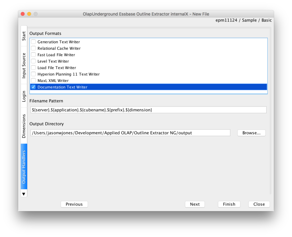 Choosing the output plugin(s) in the Outline Extractor