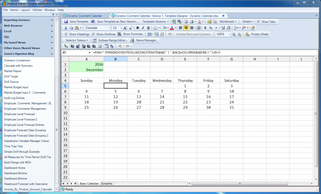 A dynamically generated calendar in Excel