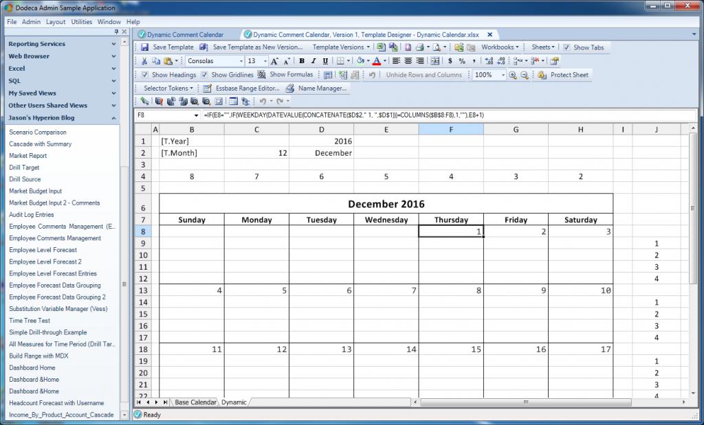 Formatting the dynamic calendar a bit