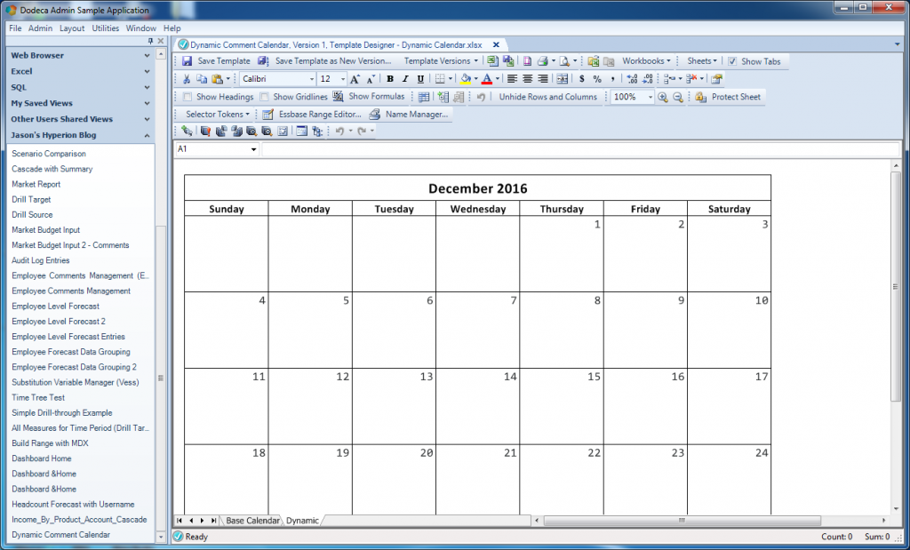 Cleaned up calendar template