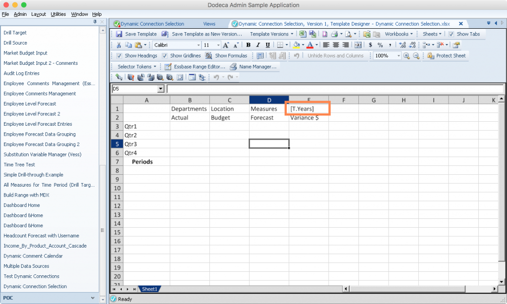 Editing a Dodeca spreadsheet template to perform a simple retrieve with a selected year