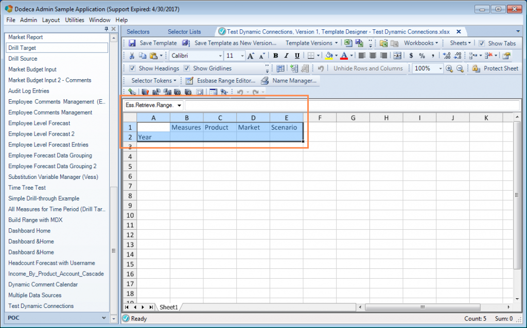Dodeca spreadsheet template editor showing named Essbase retrieve range