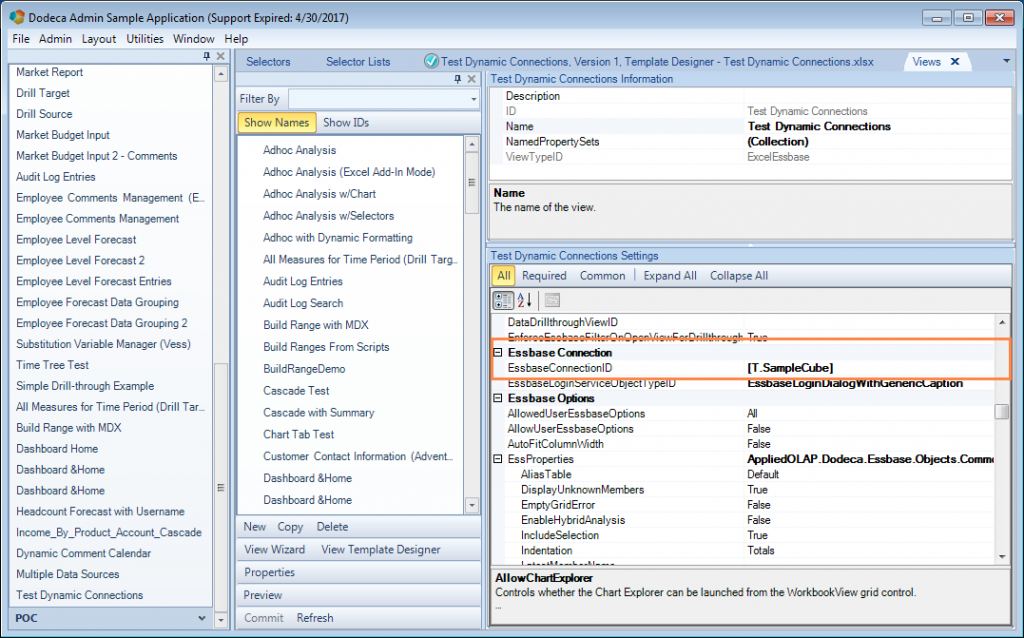 Editing the EssbaseConnectionID setting of a Dodeca view