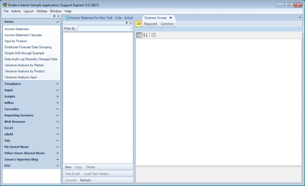 Essbase Scripts editor in Dodeca 7.3