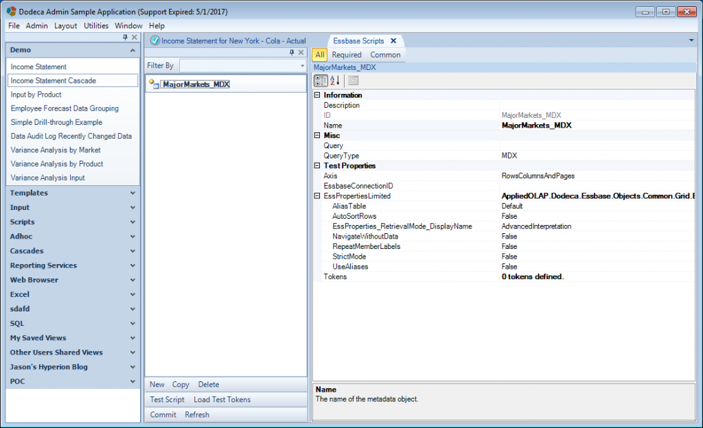 Editing a new MDX Essbase script in Dodeca