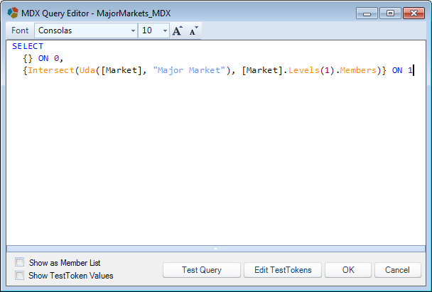 Dodeca MDX script query editor window