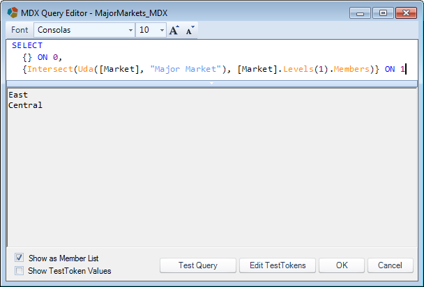 Testing an MDX script in Dodeca's MDX query editor