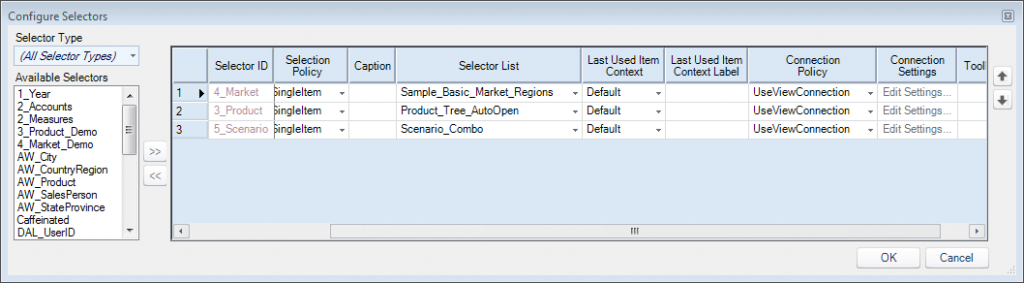 "Dodeca ""Configure Selectors"" dialog to edit selectors for a view"