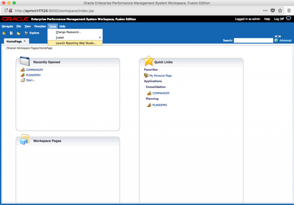 Hyperion Workspace main screen with Tools menu showing options, including Launch Reporting Web Studio