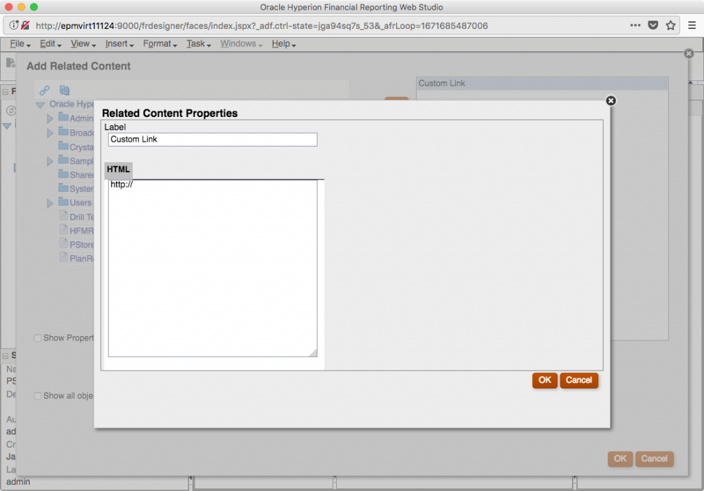 Related Content Properties dialog screen on Add Related Content in Financial Reporting Web Studio
