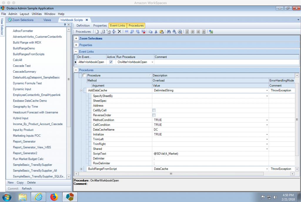 Dodeca Workbook script AddDataCache method