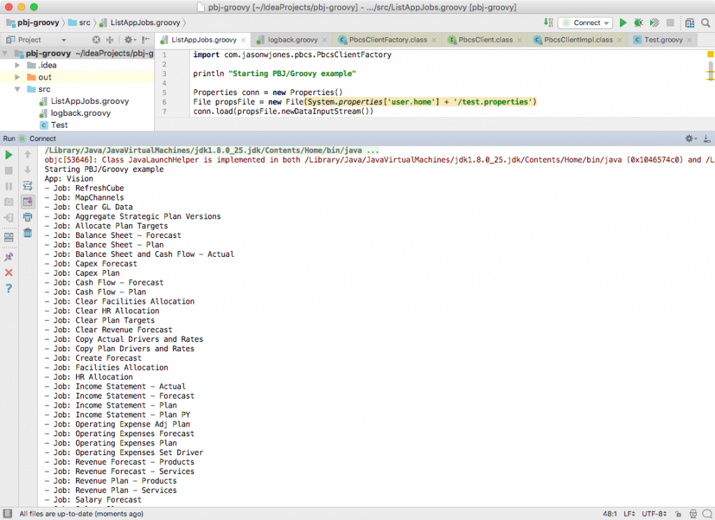 IntelliJ IDE showing output from the Groovy test script