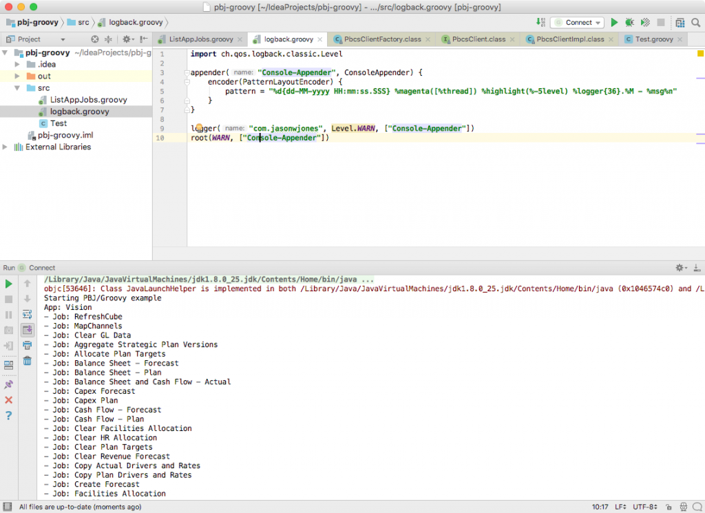 Editing the logging configuration for our sample script